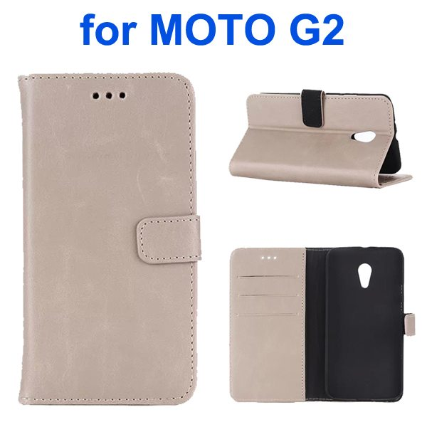 Retro Crazy Horse Texture Wallet Flip Leather Case for Motorola Moto G2 (White)