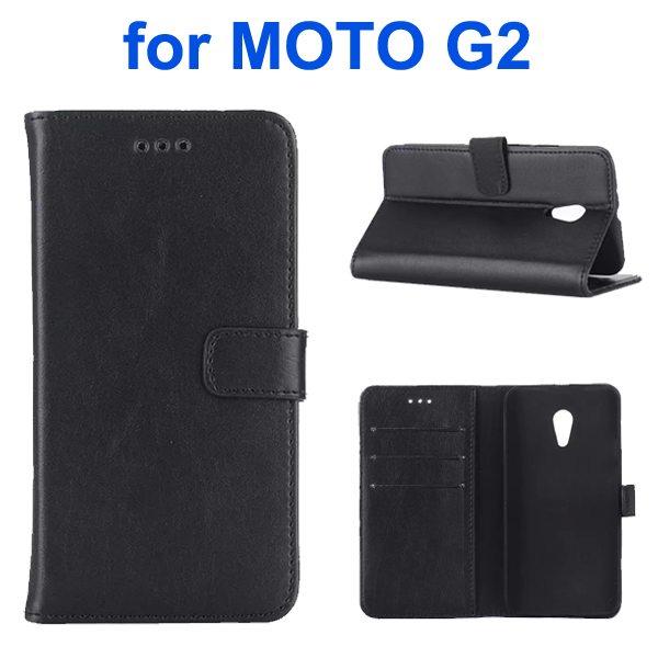 Retro Crazy Horse Texture Wallet Flip Leather Case for Motorola Moto G2 (Black)