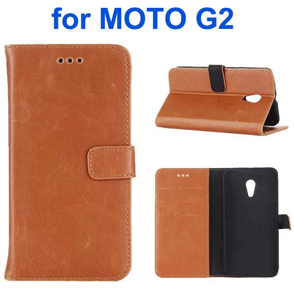 Retro Crazy Horse Texture Wallet Flip Leather Case for Motorola Moto G2 (Coffee)