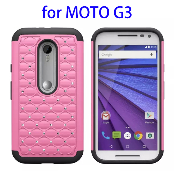 Bling Bling Diamond Pattern 2 In 1 Pattern Silicone and PC Hybrid Case for Motorola Moto G3 (Pink)