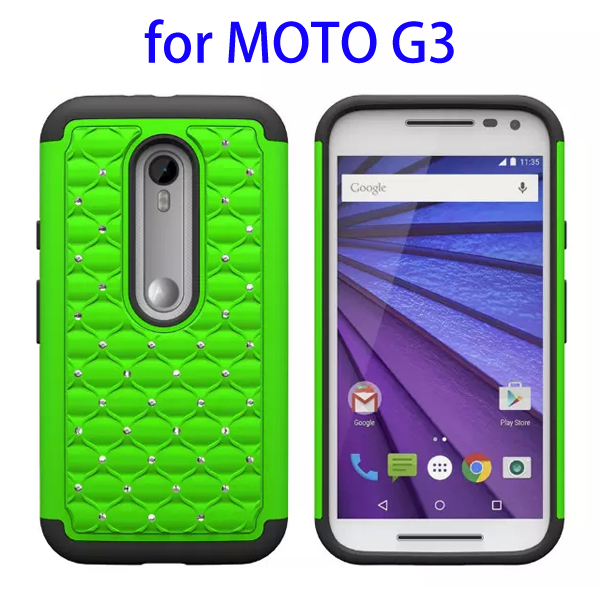 Bling Bling Diamond Pattern 2 In 1 Pattern Silicone and PC Hybrid Case for Motorola Moto G3 (Lime)