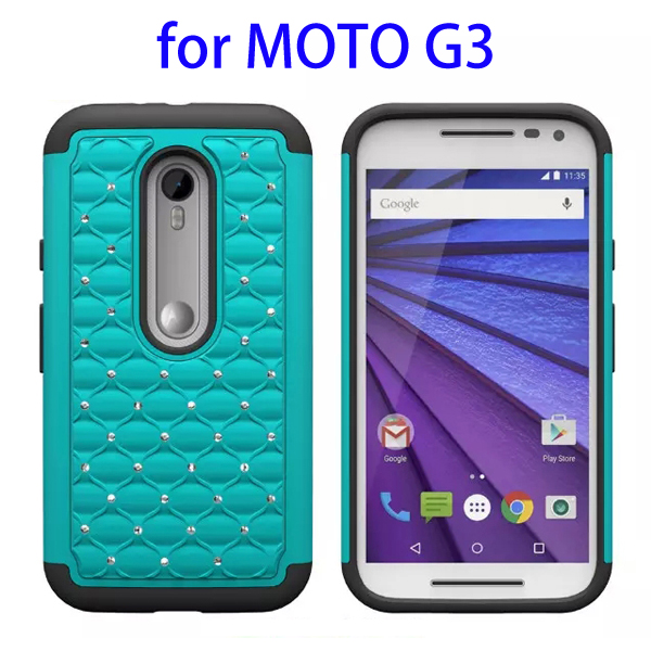 Bling Bling Diamond Pattern 2 In 1 Pattern Silicone and PC Hybrid Case for Motorola Moto G3 (Lake Blue)