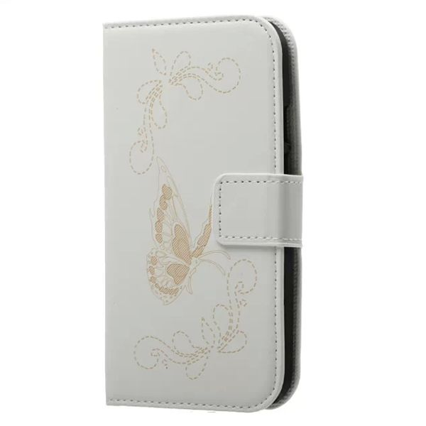 Laser Carving Butterfly Design Leather Case for Motorola Moto G2 (White)