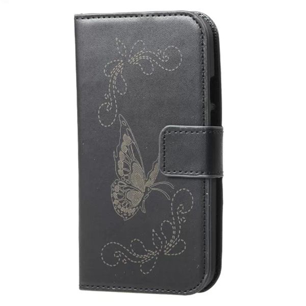 Laser Carving Butterfly Design Leather Case for Motorola Moto G2 (Black)