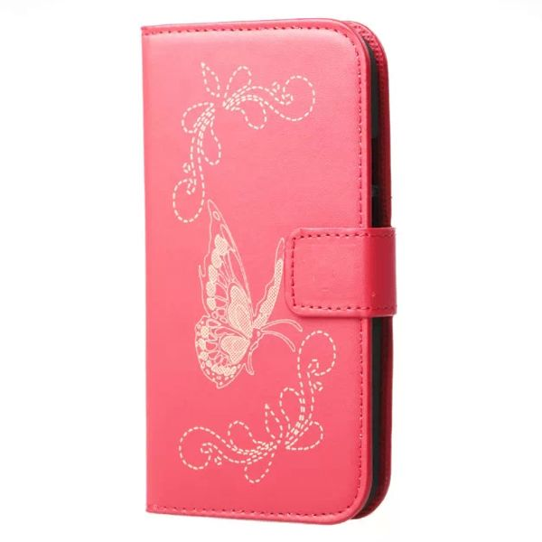 Laser Carving Butterfly Design Leather Case for Motorola Moto G2 (Red)