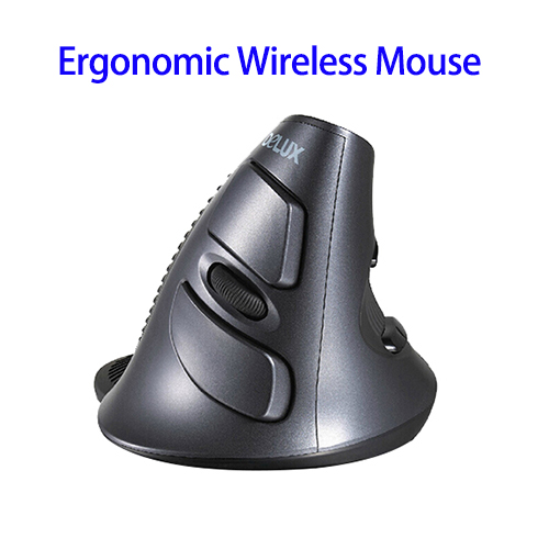 DeLUX M618 Vertical Ergonomic Wireless Mouse USB Upright Laser Comfort Mice (Black)