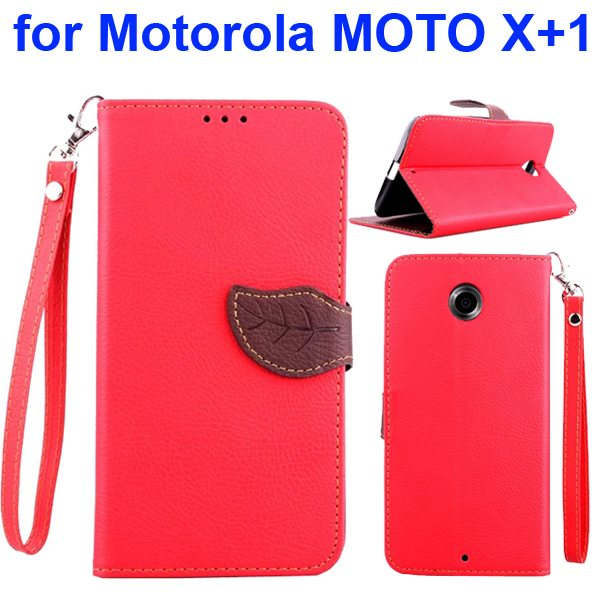 Litchi Texture Leaf Magnetic Closure Wallet Cover for Motorola MOTO X+1 (Red)
