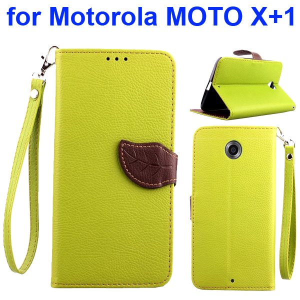 Litchi Texture Leaf Magnetic Closure Wallet Cover for Motorola MOTO X+1 (Yellow)