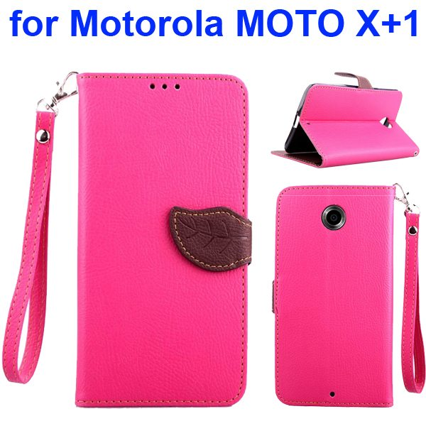 Litchi Texture Leaf Magnetic Closure Wallet Cover for Motorola MOTO X+1 (Pink)