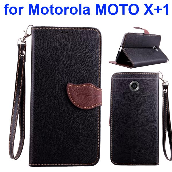 Litchi Texture Leaf Magnetic Closure Wallet Cover for Motorola MOTO X+1 (Black)