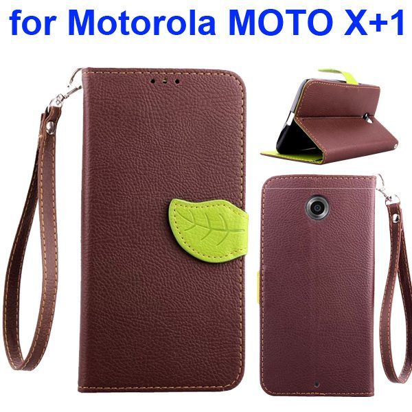 Litchi Texture Leaf Magnetic Closure Wallet Cover for Motorola MOTO X+1 (Brown)