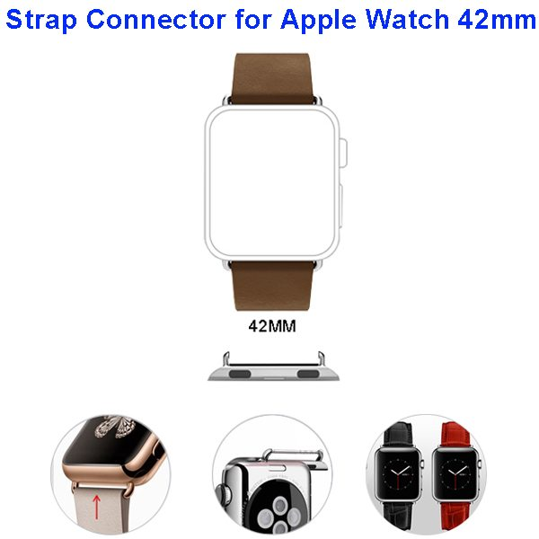 Newest Fashion Design Metal Part Strap Connector for Apple Watch 42MM (Silver)