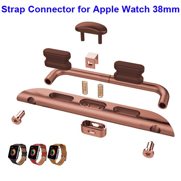 Newest Fashion Design Metal Part Strap Connector for Apple Watch 38MM (Rose Golden)