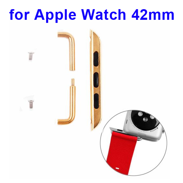 Newest Fashion Design Metal Part Strap Connector for Apple Watch 42MM (Golden)