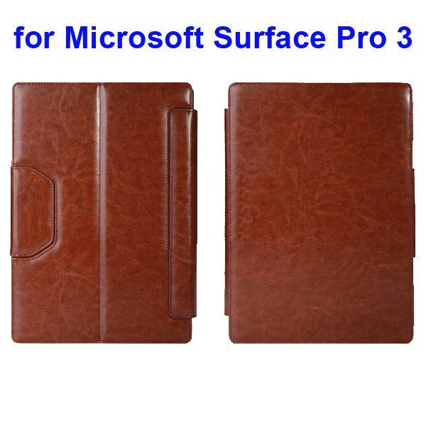 12 Inch Protective Flip Bluetooth Keyboard Leather Case for Microsoft Surface Pro 3 (Brown)
