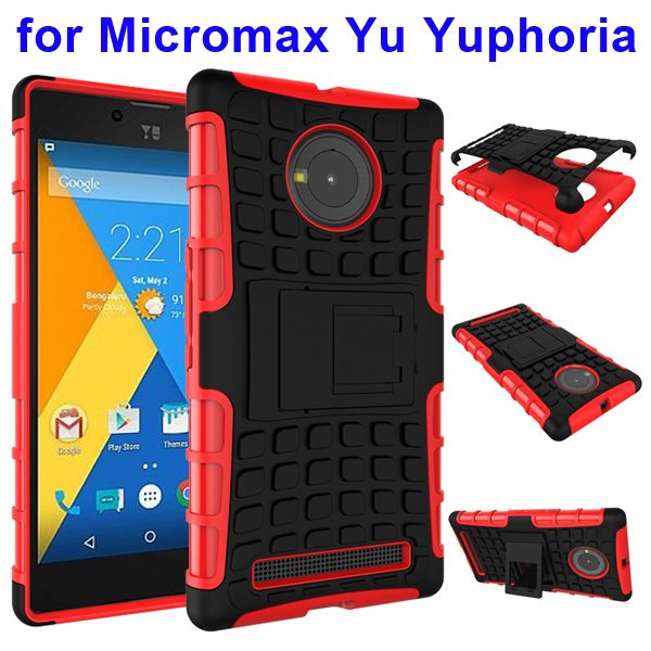 2 in 1 Silicone and Hard Protective Hybrid Case for Micromax Yu Yuphoria with Holder (Red)