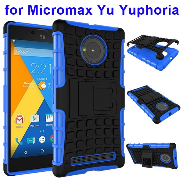 2 in 1 Silicone and Hard Protective Hybrid Case for Micromax Yu Yuphoria with Holder (Blue)