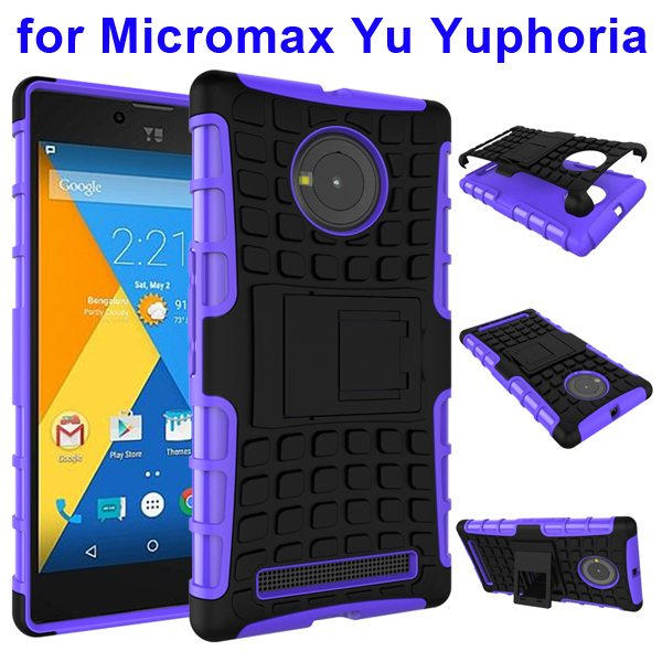 2 in 1 Silicone and Hard Protective Hybrid Case for Micromax Yu Yuphoria with Holder (Purple)