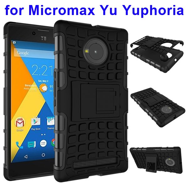 2 in 1 Silicone and Hard Protective Hybrid Case for Micromax Yu Yuphoria with Holder (Black)