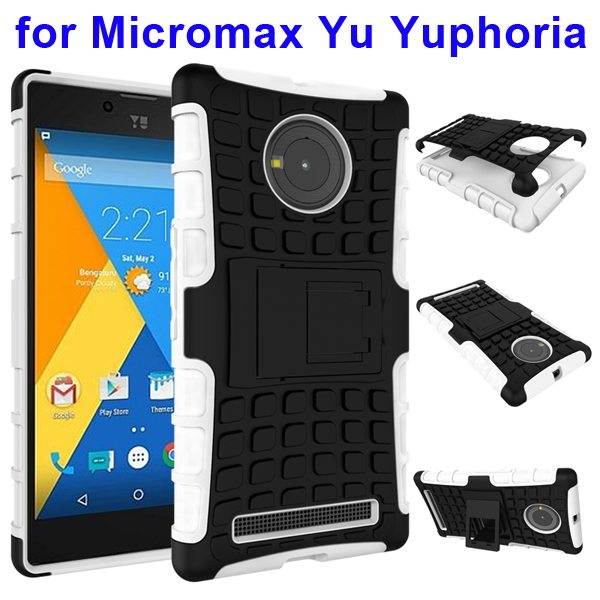 2 in 1 Silicone and Hard Protective Hybrid Case for Micromax Yu Yuphoria with Holder (White)