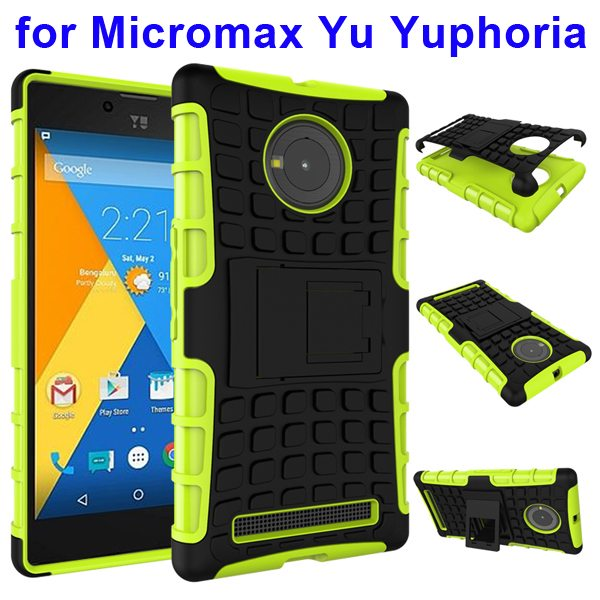 2 in 1 Silicone and Hard Protective Hybrid Case for Micromax Yu Yuphoria with Holder (Green)