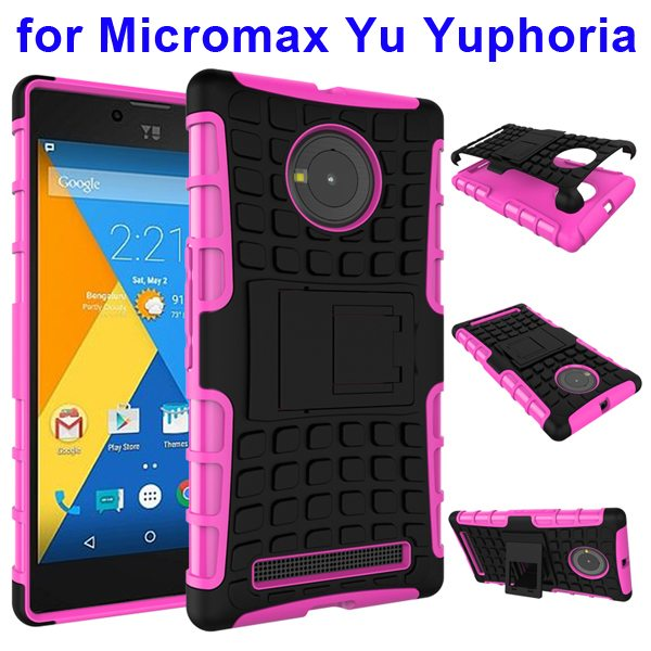 2 in 1 Silicone and Hard Protective Hybrid Case for Micromax Yu Yuphoria with Holder (Rose)