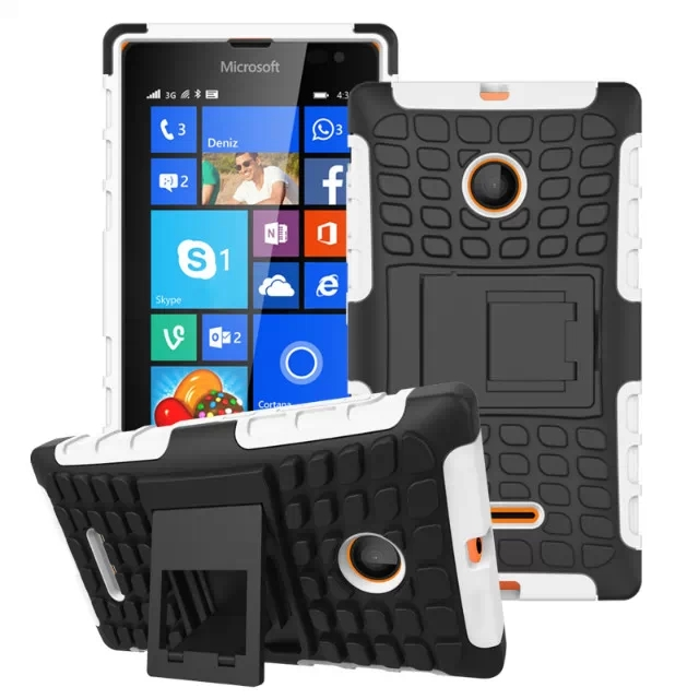 2 in 1 Snap-On Grid Pattern TPU and Hard Shockproof Case for Microsoft Lumia 435 with Kickstand (White)