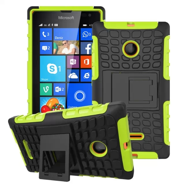 2 in 1 Snap-On Grid Pattern TPU and Hard Shockproof Case for Microsoft Lumia 435 with Kickstand (Green)