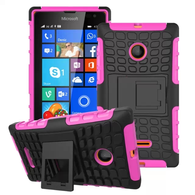 2 in 1 Snap-On Grid Pattern TPU and Hard Shockproof Case for Microsoft Lumia 435 with Kickstand (Rose)