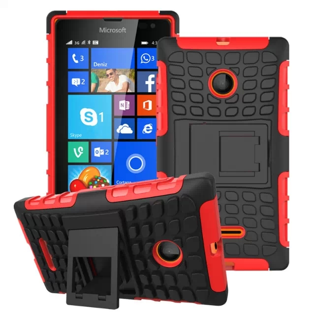 2 in 1 Snap-On Grid Pattern TPU and Hard Shockproof Case for Microsoft Lumia 435 with Kickstand (Red)