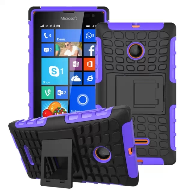 2 in 1 Snap-On Grid Pattern TPU and Hard Shockproof Case for Microsoft Lumia 435 with Kickstand (Purple)