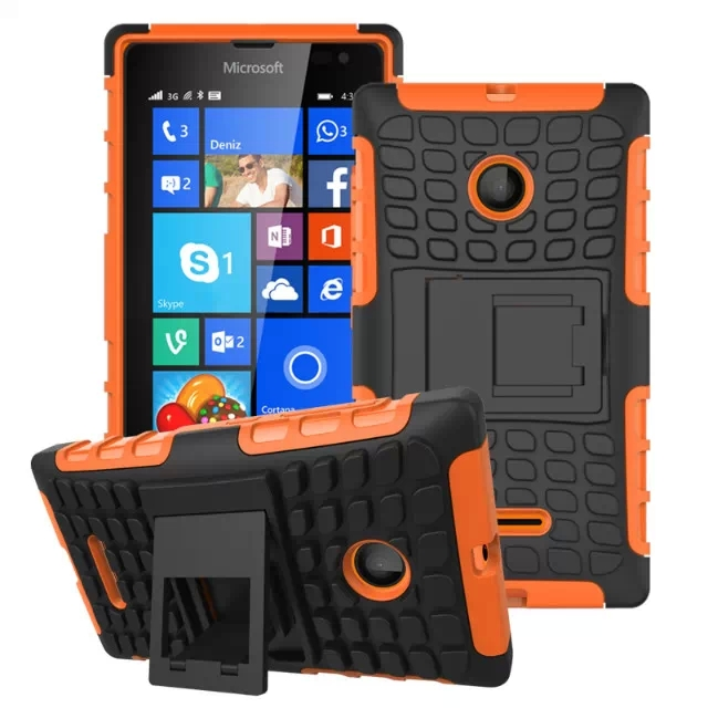 2 in 1 Snap-On Grid Pattern TPU and Hard Shockproof Case for Microsoft Lumia 435 with Kickstand (Orange)