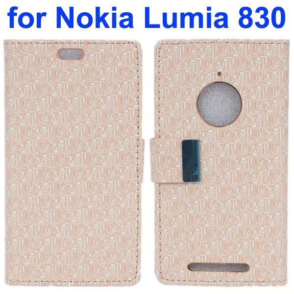 Maze Lattice Pattern Wallet Leather Flip Cover for Nokia Lumia 830 with Metal Buckle and Logo Hole (Beige)