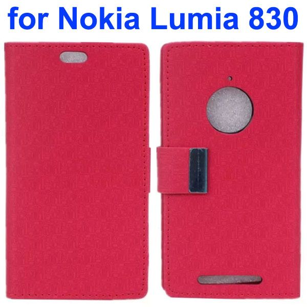 Maze Lattice Pattern Wallet Leather Flip Cover for Nokia Lumia 830 with Metal Buckle and Logo Hole (Red)