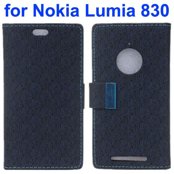 Maze Lattice Pattern Wallet Leather Flip Cover for Nokia Lumia 830 with Metal Buckle and Logo Hole (Black)