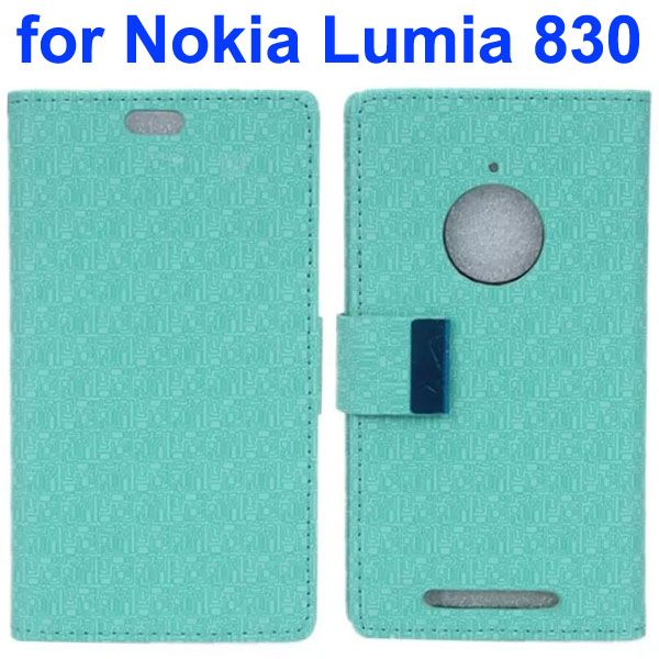 Maze Lattice Pattern Wallet Leather Flip Cover for Nokia Lumia 830 with Metal Buckle and Logo Hole (Baby Blue)