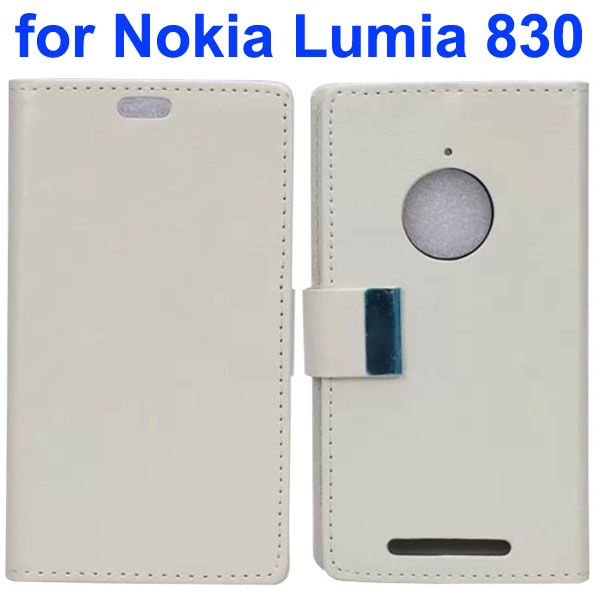 Crazy Horse Texture Leather Flip Cover for Nokia Lumia 830 with Iron Buckle (White)
