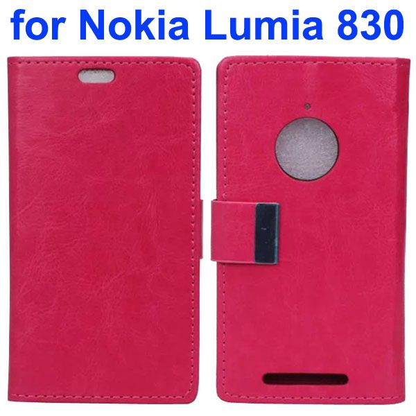 Crazy Horse Texture Leather Flip Cover for Nokia Lumia 830 with Iron Buckle (Rose)