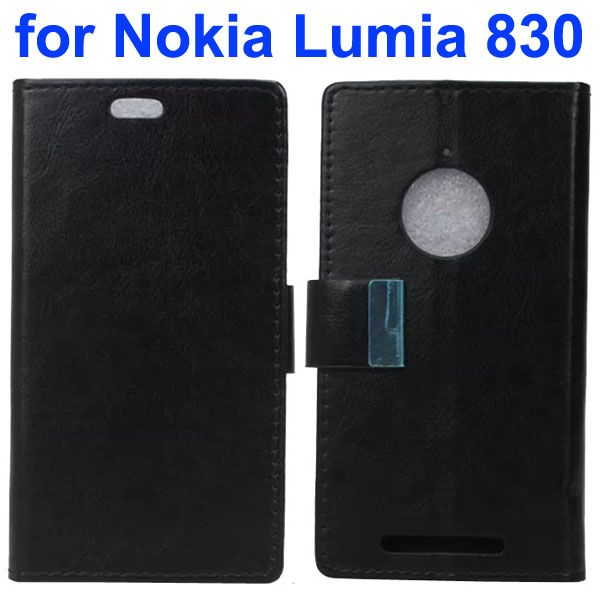 Crazy Horse Texture Leather Flip Cover for Nokia Lumia 830 with Iron Buckle (Black)