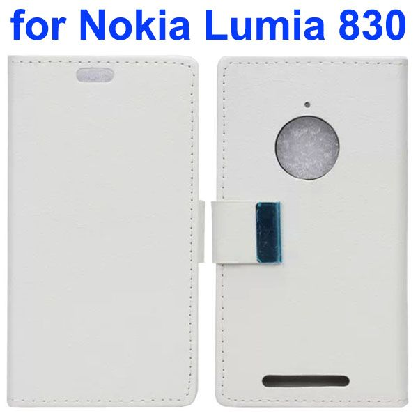 Karst Texture Leather Flip Cover for Nokia Lumia 830 with Card Slots (White)