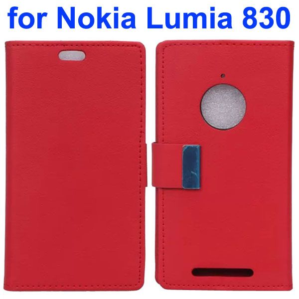 Karst Texture Leather Flip Cover for Nokia Lumia 830 with Card Slots (Red)