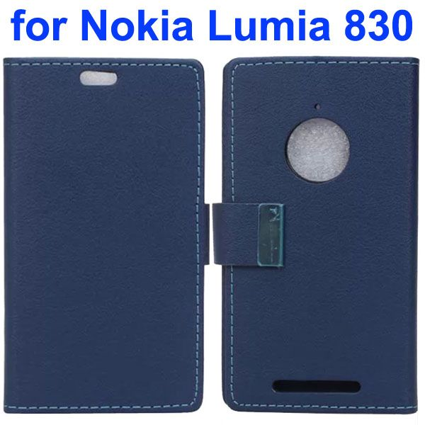 Karst Texture Leather Flip Cover for Nokia Lumia 830 with Card Slots (Dark Blue)