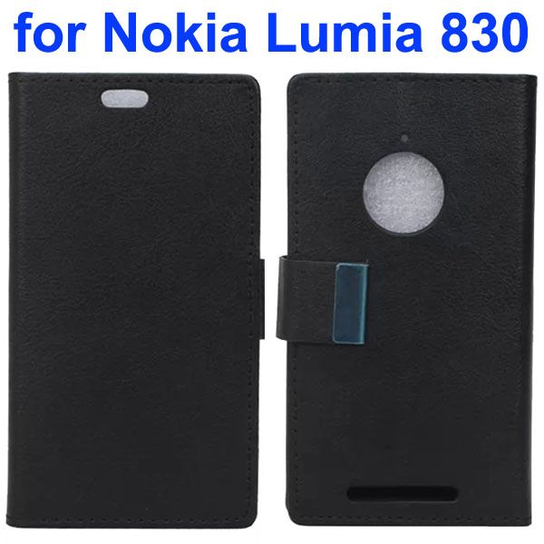 Karst Texture Leather Flip Cover for Nokia Lumia 830 with Card Slots (Black)