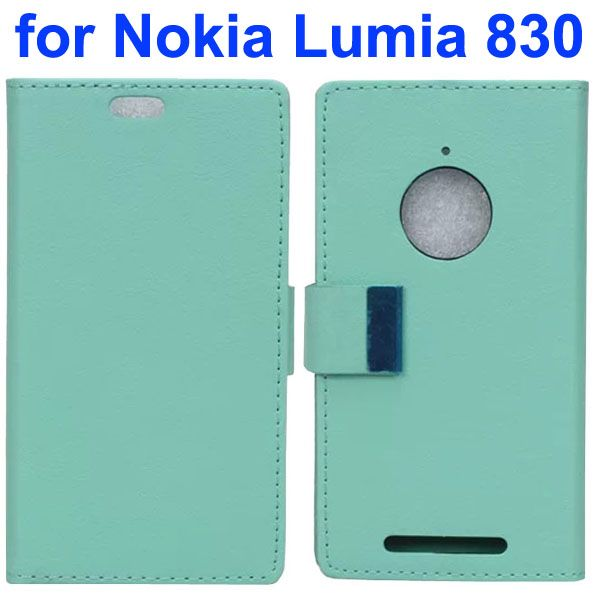 Karst Texture Leather Flip Cover for Nokia Lumia 830 with Card Slots (Light Blue)