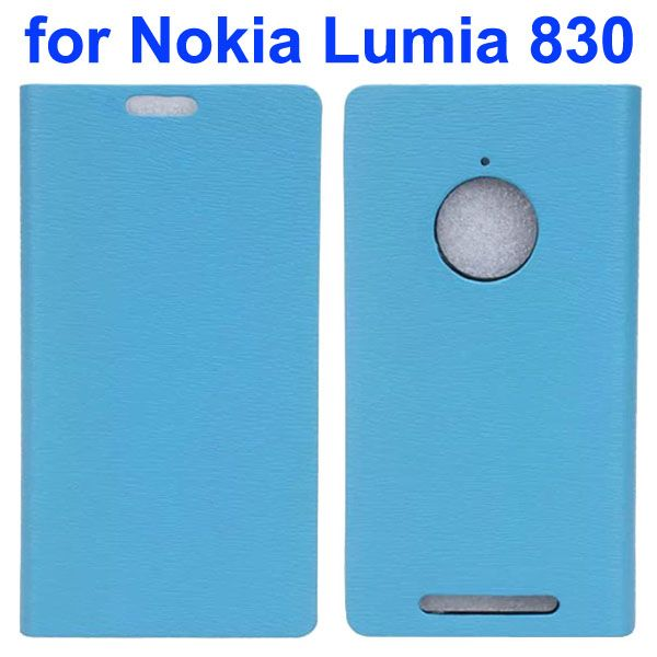 Wooden Texture Leather Flip Cover for Nokia Lumia 830 with Card Slots (Light Blue)