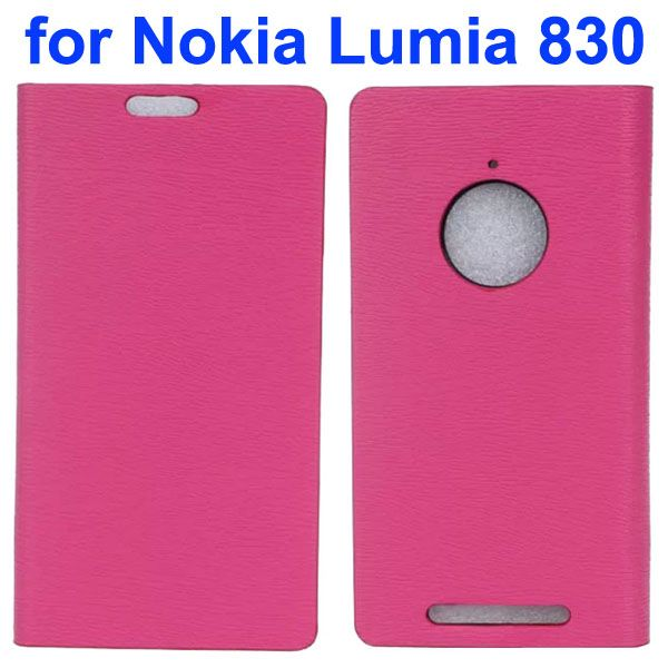 Wooden Texture Leather Flip Cover for Nokia Lumia 830 with Card Slots (Rose)