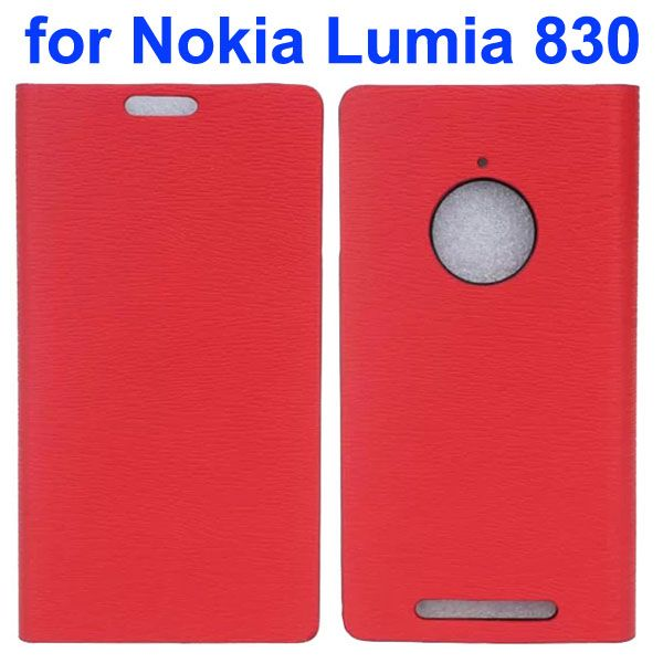 Wooden Texture Leather Flip Cover for Nokia Lumia 830 with Card Slots (Red)