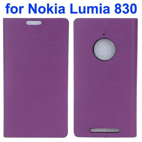 Wooden Texture Leather Flip Cover for Nokia Lumia 830 with Card Slots (Purple)