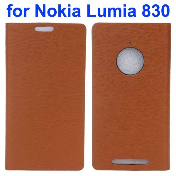 Wooden Texture Leather Flip Cover for Nokia Lumia 830 with Card Slots (Brown)