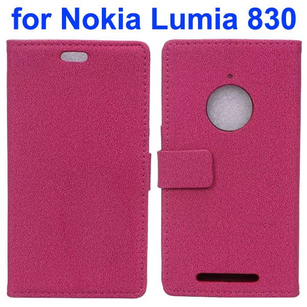 Stone Texture Leather Wallet Case Flip Cover for Nokia Lumia 830 with Card Slots (Rose)